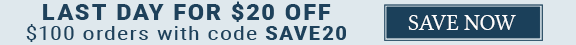 $20 OFF $100 SITEWIDE with code: SAVE20