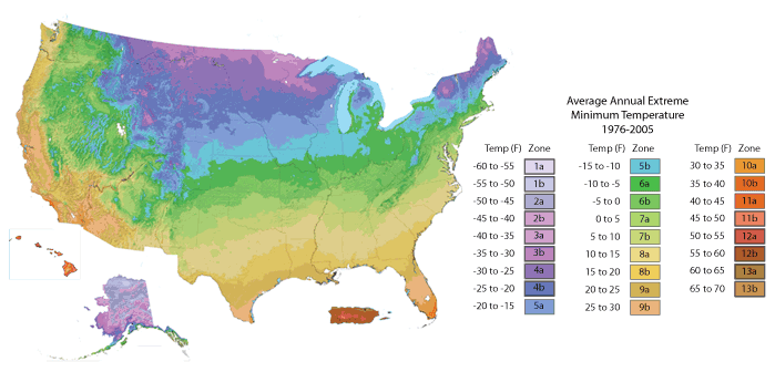 USDA Zone Hardiness Map