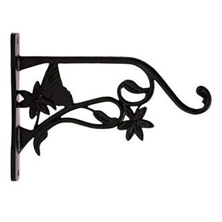 Restorers Iron Butterfly & Flower Plant Hanger-Pair-Black Powder Coat