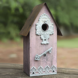 Metal/Wood Birdhouse - Purple