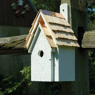 White Bluebird Cottage Bird House