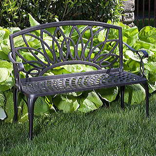 Daffodil Cast-Aluminum Outdoor Bench