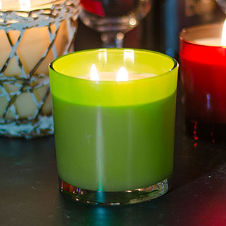 White Pine 2 Wick Candle in Green Glass