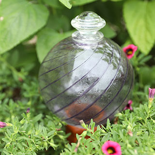 Purple Spiral Fluted Watering Globe & Stake Set