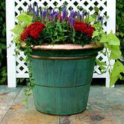 Copper-Plated Rolled Rim Planter